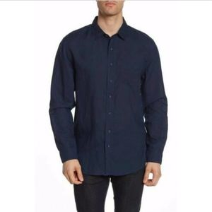 NEW ONIA Abe Linen Blend Navy Button Front Shirt L